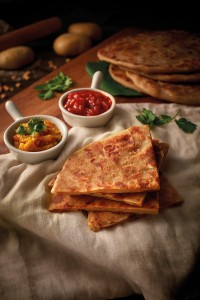 AA Stuffed Paratha with Tomato Chutney