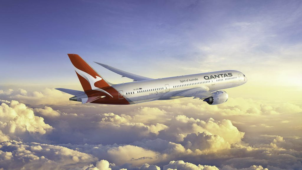 Qantas Boeing 787 Dreamliner showcasing new livery