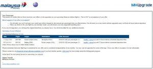 Malaysia Airlines MHupgrade bid confirmation