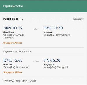 Singapore to Stockholm
