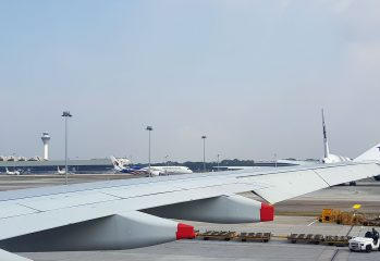 reinstated flights, Malaysia Airlines Airbus A330 wing view - KLIA